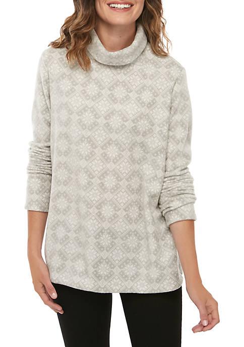 Petite Printed Long Sleeve Turtleneck Pullover