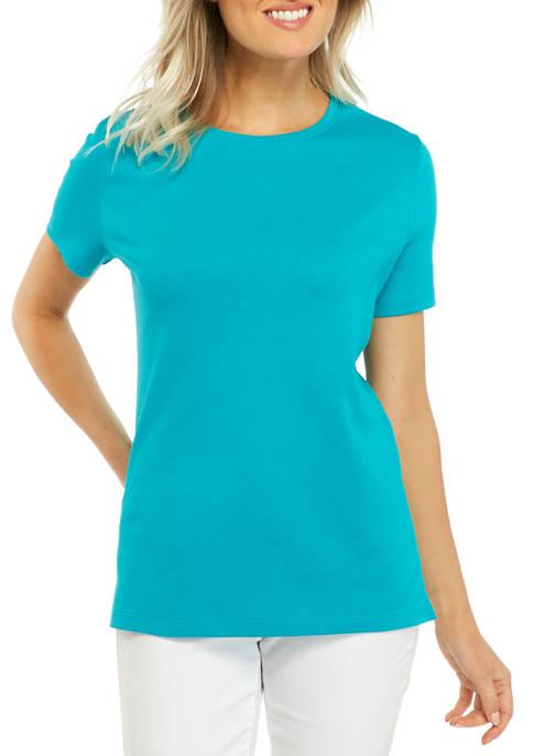 Kim Rogers® Petite Short Sleeve Mega Solid T-Shirt