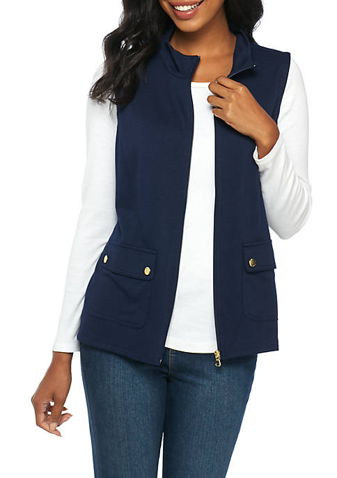 Kim Rogers® Petite Two Pocket Solid Vest
