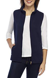 Petite Zip Front Solid Vest