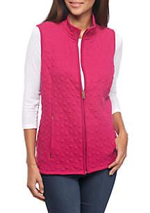 Petite Zip Front Jacquard Vest