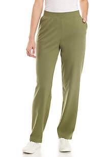 Petite Average Straight Solid Pants