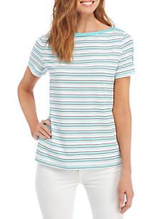 Kim Rogers® Petite Three-Quarter Pocket Sleeve Print Top