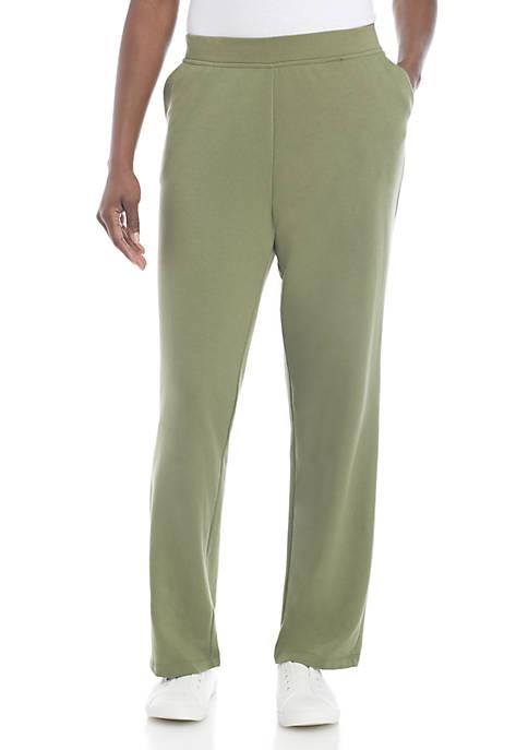 Petite Solid Short Straight Pants