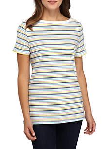 Kim Rogers® Petite Boat Neck Pocket Sleeve Top