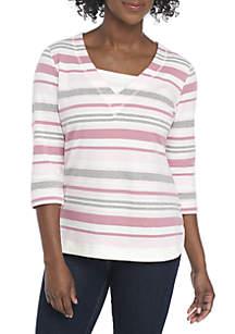 Petite 3/4 Sleeve Stripe Top