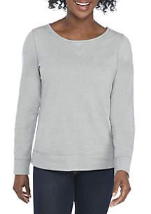 Petite Long Sleeve Crew Neck Heathered Sweatshirt