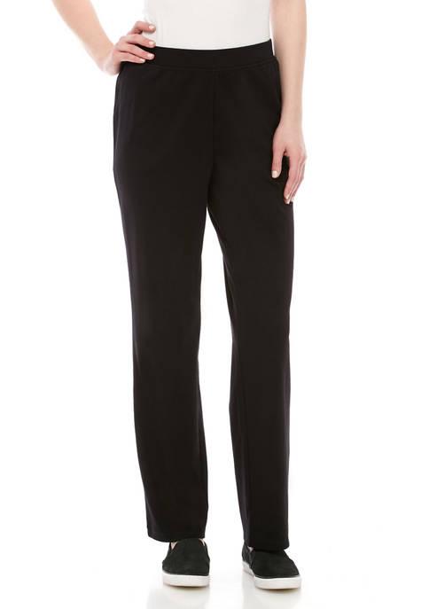 Petite Interlock Straight Leg Pants - Average