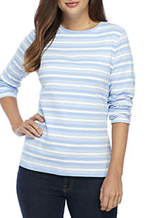 Petite 3/4 Sleeve Striped Crew Top