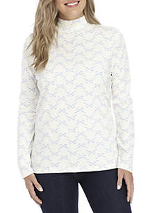 Petite Long Sleeve Mock Neck Bow Print Top