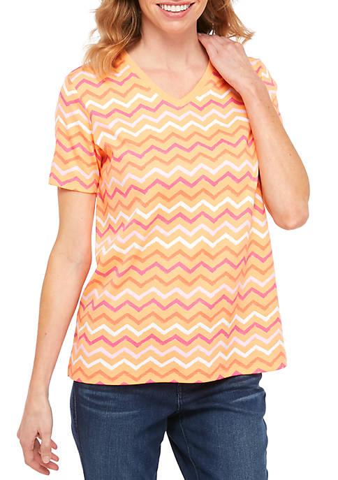 Kim Rogers® Petite Short Sleeve V Neck Chevron