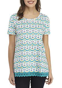 Kim Rogers® Petite Short Sleeve Crochet Tunic Print Top