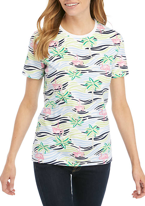 Kim Rogers® Petite Short Sleeve Oasis Print Top
