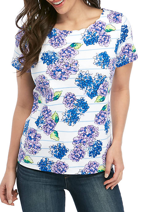 Kim Rogers® Petite Short Sleeve Scallop Neck T