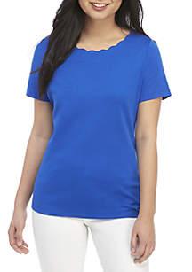 Kim Rogers® Petite Short Sleeve Scallop Neck Top