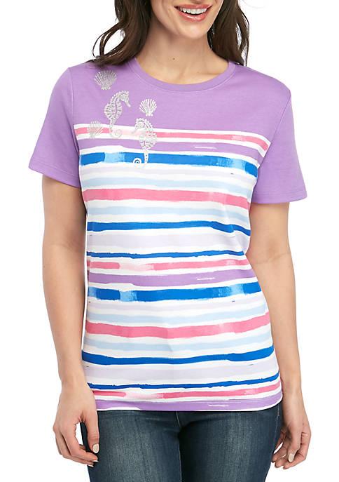 Kim Rogers® Petite Short Sleeve Bayside Stripe T