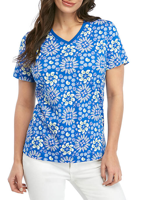 Kim Rogers® Petite Short Sleeve Medallion T Shirt