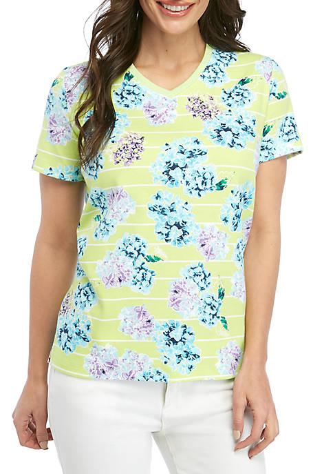 Petite Short Sleeve V Neck Hydrangea T Shirt