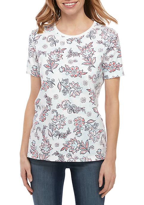 Kim Rogers® Petite Crew Neck Floral Top