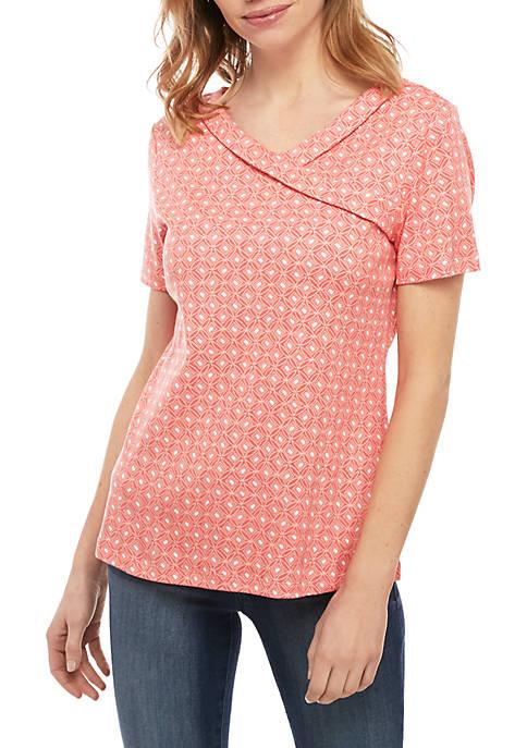 Kim Rogers® Petite Short Sleeve Cross Neck Top
