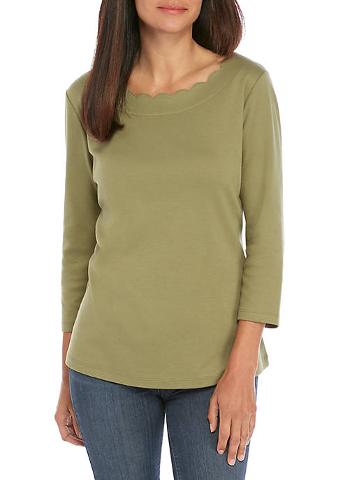 Kim Rogers® Petite 3/4 Sleeve Scallop Neck Top
