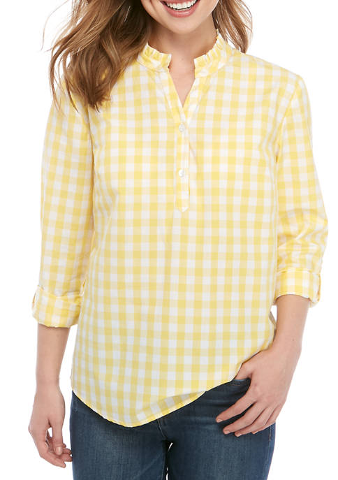 Kim Rogers® Petite Roll Tab Sleeve Ruffle Neck