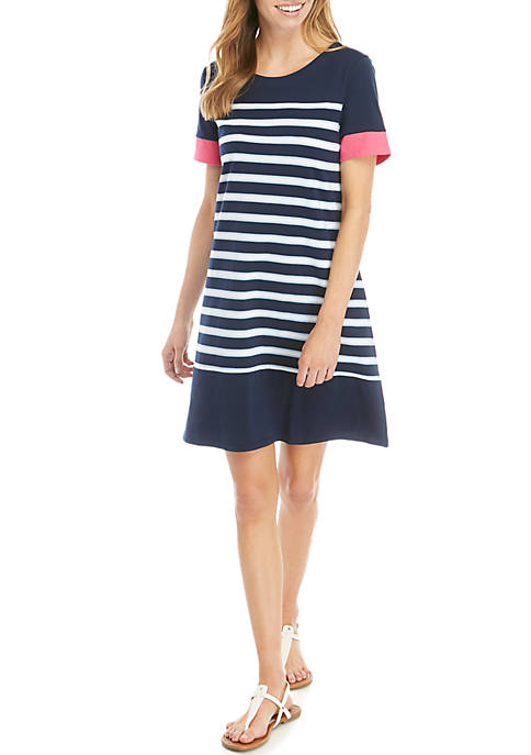Kim Rogers® Petite Short Sleeve Crew Neck Stripe