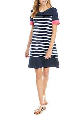 96c854484e35a Kim Rogers® Petite Short Sleeve Crew Neck Stripe Dress ...