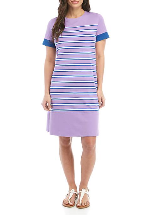 Kim Rogers® Petite Short Sleeve Crew Neck Stripe