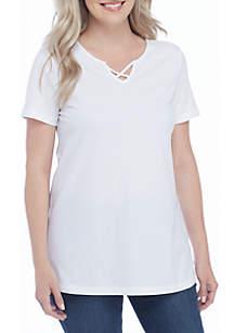 Kim Rogers® Petite Short Sleeve Criss Cross Tee