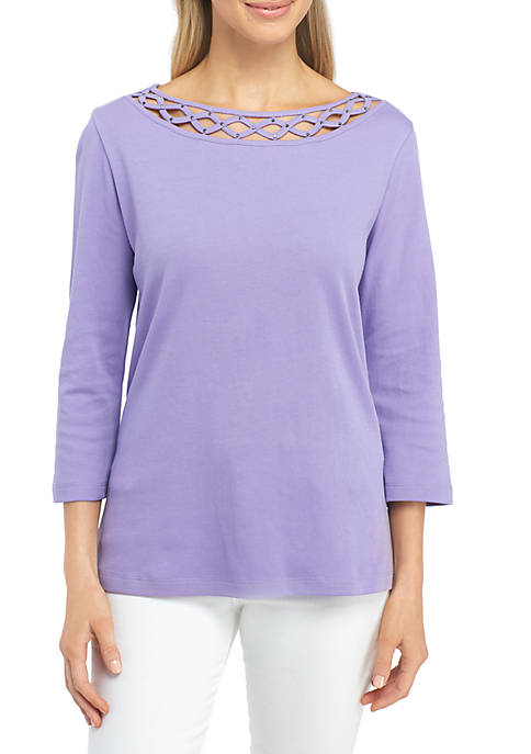 Kim Rogers® Petite Size Three-quarter Woven Braid Top