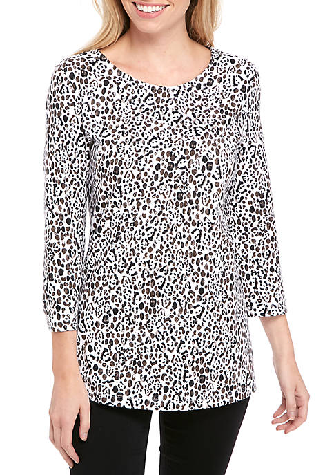 Kim Rogers® Criss Cross Animal Print T-Shirt