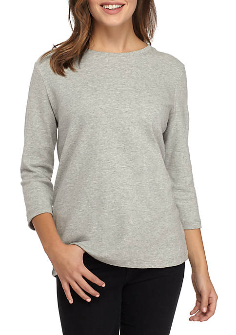 Kim Rogers® Three-Quarter Sleeve Crew Neck Heather Shirt