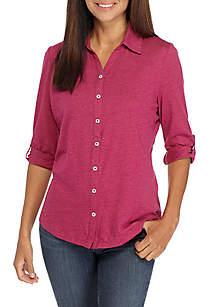 Petite Size Roll Sleeve Solid Shirt
