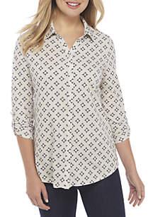 Kim Rogers® Petite Roll Sleeve Printed Top