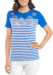 Petite Size Short Sleeve Crew Interlock Top