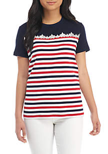 Petite Short Sleeve Crew Interlock Fashion Top