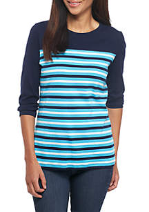 Petite Size Three-Quarter Sleeve Color Block Striped Tee Shirt