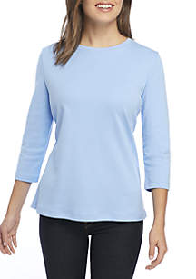 Petite Crew Neck Solid Top