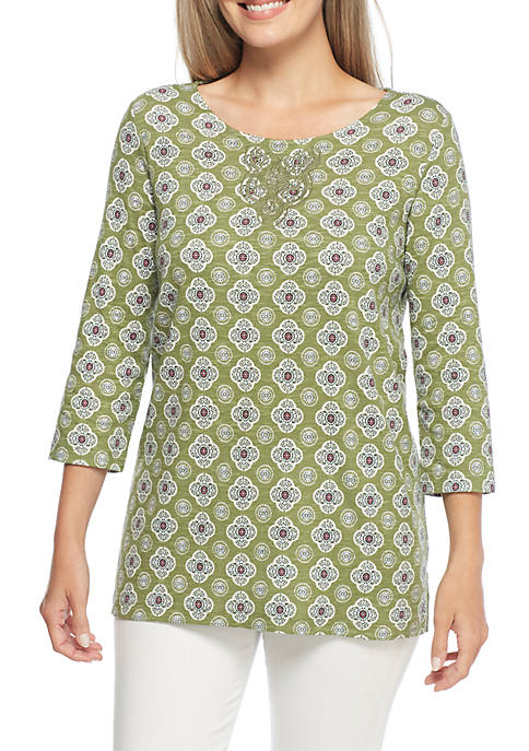 Kim Rogers® Embroidered Neck Round Hem Shirt