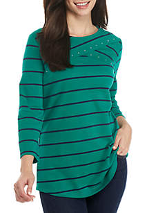 Petite 3/4 Sleeve Cross Yoke Stripe Top