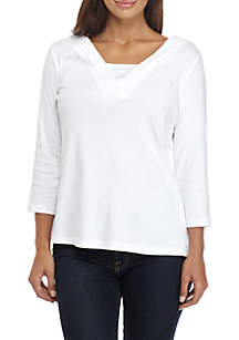 Petite Three-Quarter Sleeve Knit V-Neck Solid Top