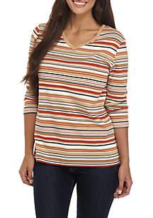 Petite V-Neck Stripe Knit Top