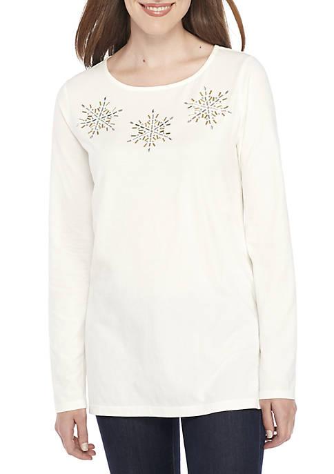 Kim Rogers® Petite Long Sleeve Embellished Crew Neck
