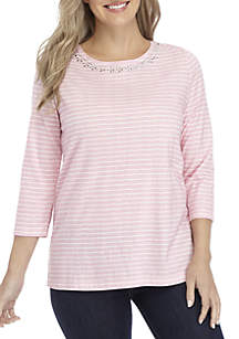 Petite 3/4 Sleeve Embellished Striped Top