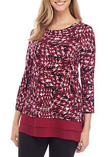 Kim Rogers® Petite 3/4 Sleeve Print Tunic