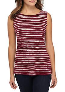 Kim Rogers® Petite Sleeveless Shell Stripe Print Tank