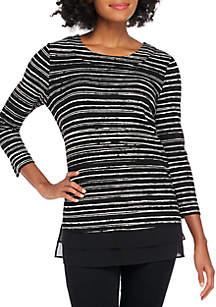 Kim Rogers® Petite 3/4 Sleeve Stripe Tunic
