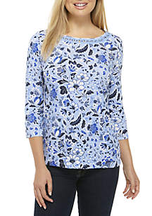 Petite 3/4 Sleeve Embroidered Neck Top