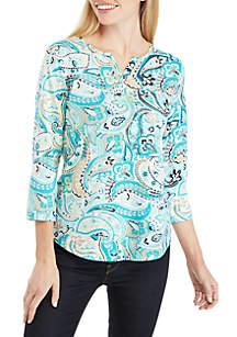Kim Rogers® Petite 3/4 Sleeve Split Neck Paisley Top